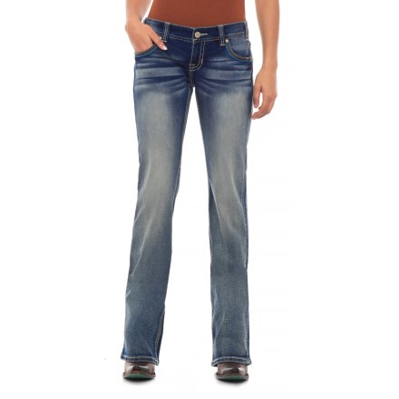 Rock & Roll Cowgirl Extra Stretch Low-Rise Skinny Jeans - Aztec-Inspired Detail