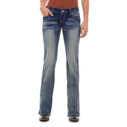 Rock & Roll Cowgirl Extra Stretch Low-Rise Skinny Jeans - Aztec-Inspired Detail (For Women) in Medium Vintage - Closeouts