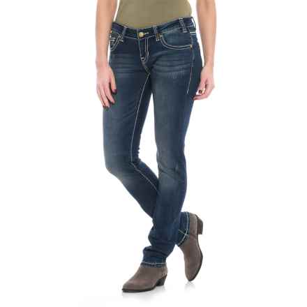 Rock & Roll Cowgirl Extra-Stretch Low-Rise Skinny Jeans (For Women) in Dark Vintage - Closeouts