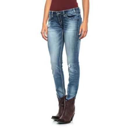 Rock & Roll Cowgirl Extra-Stretch Low-Rise Skinny Jeans (For Women) in Light Vintage - Closeouts