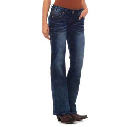 Rock & Roll Cowgirl Extra Stretch Riding Jeans - Bootcut, Khaki and Copper Embroidery (For Women) in Dark Vintage - Closeouts