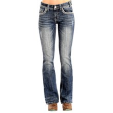 Rock & Roll Cowgirl Falling-Zigzag Bootcut Jeans - Mid Rise (For Women) in Medium Vintage Wash - Overstock