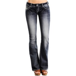 Rock & Roll Cowgirl Faux Flap Pocket Jeans - Low Rise, Bootcut (For Women) in Dark Wash