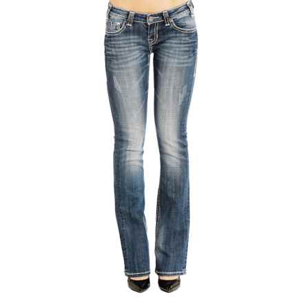 Rock & Roll Cowgirl Feather Stitch Rival Jeans - Low Rise, Bootcut (For Women) in Dark Vintage Wash - Closeouts