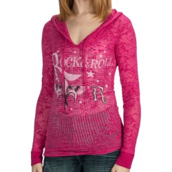 Rock & Roll Cowgirl Fleur-de-Lis Burnout Hooded Shirt - Long Sleeve (For Women) in Hot Pink
