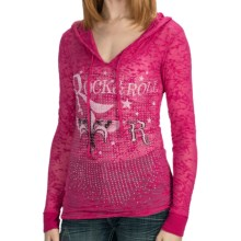 Rock & Roll Cowgirl Fleur-de-Lis Burnout Hoodie Sweatshirt (For Women) in Hot Pink - Closeouts