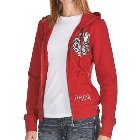 Rock & Roll Cowgirl Fleur-De-Lis Hooded Jacket - French Terry Knit (For Women) in Red