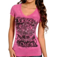 Rock & Roll Cowgirl Fleur De Lis T-Shirt - Burnout, Short Sleeve (For Women) in Hot Pink - Closeouts