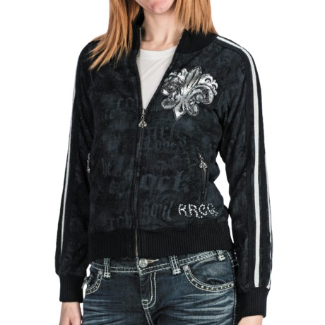 Rock & Roll Cowgirl Fleur-De-Lis Track Jacket (For Women) in Black