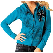 Rock & Roll Cowgirl Flock Cross Hoodie Sweatshirt - French Terry Knit (For Women) in 87 Bright Turquoise - Closeouts