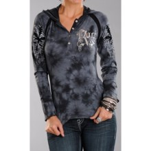 Rock & Roll Cowgirl Flocked Henley Shirt - Long Sleeve (For Women) in Black/Grey - Closeouts