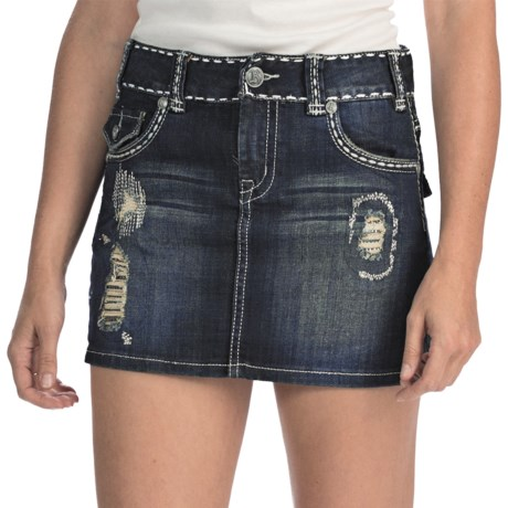 Rock & Roll Cowgirl Frayed Distress Mini Skirt - Denim, Low Rise (For Women) in Dark Rinse