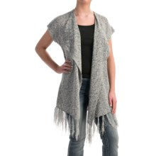 Rock & Roll Cowgirl Fringed Aztec Cardigan Sweater - Short Sleeve (For Women) in Grey - Overstock