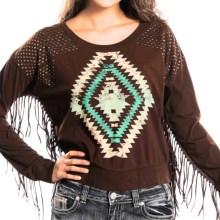Rock & Roll Cowgirl Fringed Sweater (For Women) in Chocolate - Closeouts