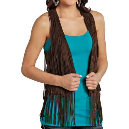 Rock & Roll Cowgirl Fringed Vest (For Women) in Chocolate - Overstock