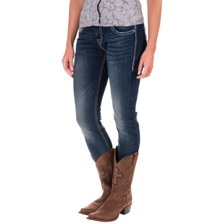 Rock & Roll Cowgirl Geometric Embroidered Skinny Jeans - Low Rise (For Women) in Dark Vintage