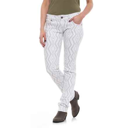 Rock & Roll Cowgirl Geometric Print Skinny Jeans - Low Rise (For Women) in White - Closeouts