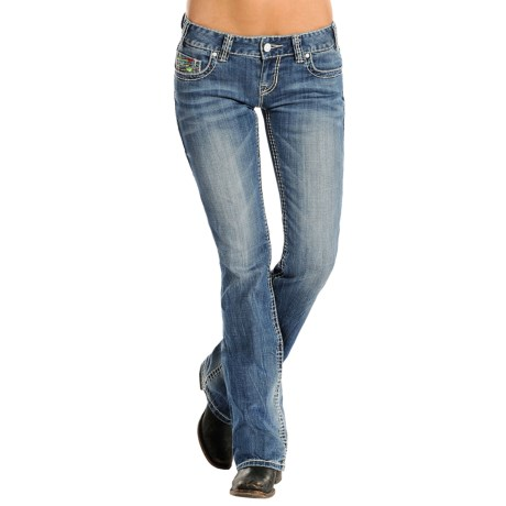 Rock & Roll Cowgirl Geometric V-Embroidered Jeans - Low Rise, Bootcut (For Women)