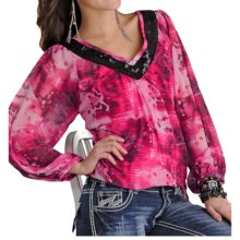 Rock & Roll Cowgirl Georgette Peasant Shirt - V-Neck, Long Sleeve (For Women) in Pink - Closeouts