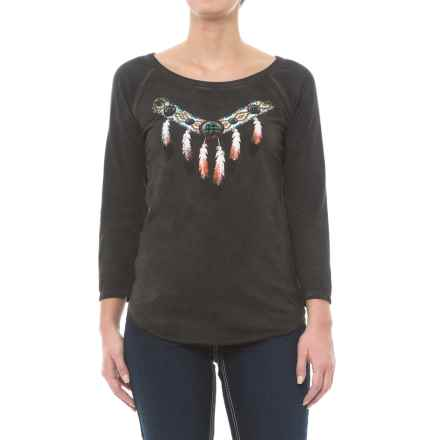 Rock & Roll Cowgirl Graphic Shirt - 3/4 Sleeve (For Women) in Charcoal - Closeouts