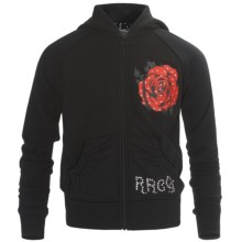 Rock & Roll Cowgirl Guitar & Rose Hoodie Sweatshirt - Raglan Sleeve (For Girls) in Black - Closeouts