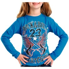 Rock & Roll Cowgirl Guitar Screenprint T-Shirt - Long Sleeve (For Girls) in Turquoise - Closeouts