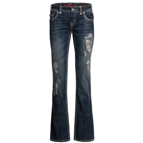 Rock & Roll Cowgirl Heart Peace Jeans - Low Rise, Bootcut (For Women) in Dark Wash