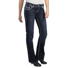 Rock & Roll Cowgirl Heart Stone Cross Detail Jeans - Low Rise, Bootcut (For Women) in Dark Wash - Closeouts