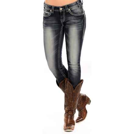 Rock & Roll Cowgirl Heavy Ivory Skinny Jeans - Low Rise (For Women) in Dark Vintage Wash - Closeouts