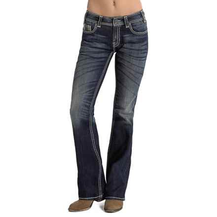 Rock & Roll Cowgirl Heavy Ivory Stitch Jeans - Mid Rise, Bootcut (For Women) in Dark Vintage Wash - Closeouts