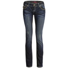 Rock & Roll Cowgirl Heavy Saddlestitch Skinny Jeans - Low Rise (For Women) in 42 Dark Wash - Closeouts