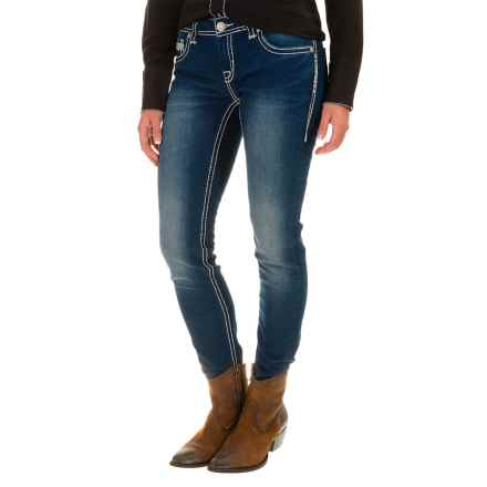 Rock & Roll Cowgirl Heavy-Stitch Skinny Jeans - Low Rise, Slim Fit (For Women) in Dark Vintage - Closeouts