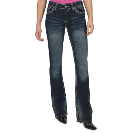Rock & Roll Cowgirl Hematite and Nailhead Jeans - Bootcut (For Women) in Dark Wash