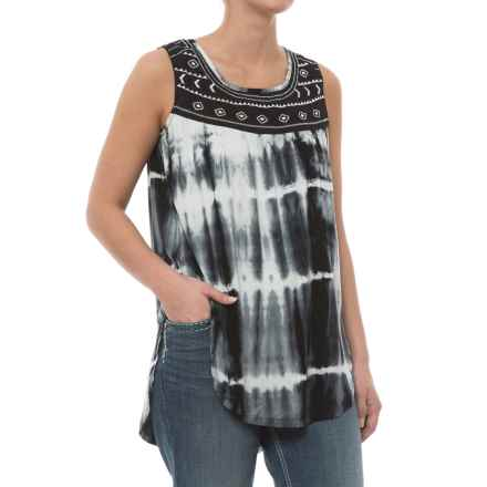 Rock & Roll Cowgirl Hi-Low Tank Top - Scoop Neck in Off White - Closeouts