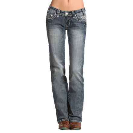 Rock & Roll Cowgirl Horizontal Embroidery Jeans - Bootcut (For Women) in Vintage Wash - Closeouts