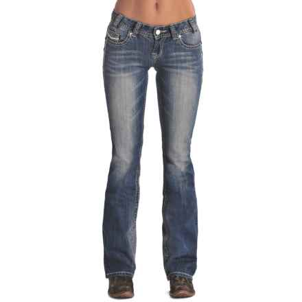 Rock & Roll Cowgirl Ivory and Silver Jeans - Low Rise, Bootcut (For Women) in Light Vintage Wash - Closeouts