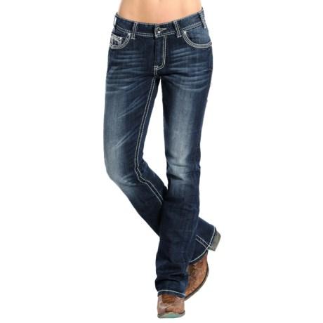 Rock & Roll Cowgirl Ivory Border Boyfriend Jeans - Bootcut (For Women)