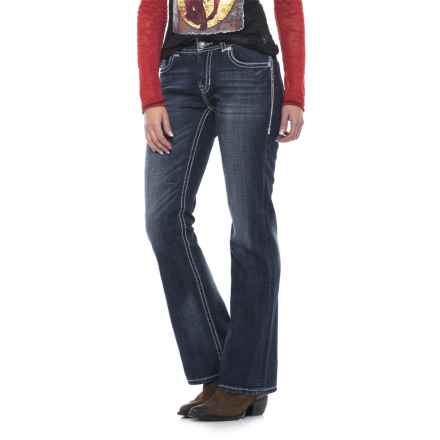 Rock & Roll Cowgirl Ivory Cross Jeans - Mid Rise, Bootcut (For Women) in Dark Vintage - Closeouts