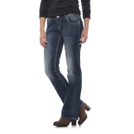 Rock & Roll Cowgirl Ivory V-Back Pocket Jeans - Low Rise, Bootcut (For Women) in Dark Vintage