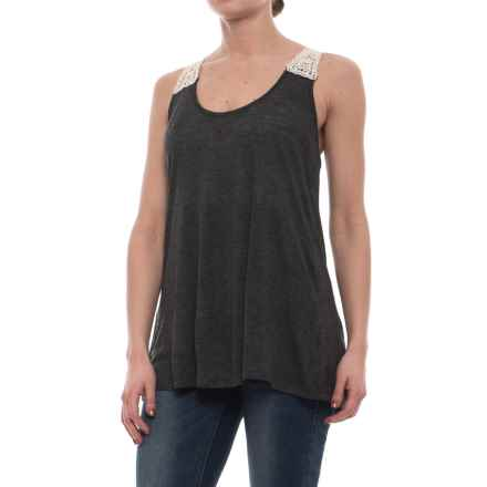 Rock & Roll Cowgirl Jersey and Lace Tank Top (For Women) in Charcoal - Closeouts