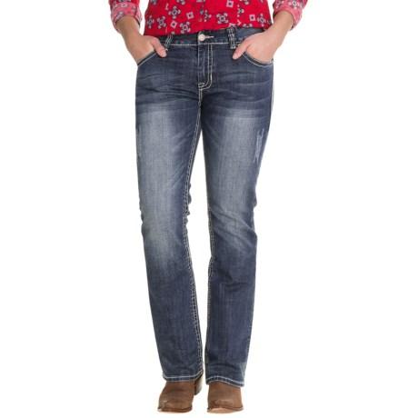 Rock & Roll Cowgirl Khaki Embroidery Jeans - Boyfriend Fit (For Women) in Medium Vintage