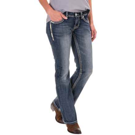 Rock & Roll Cowgirl Khaki Embroidery Riding Jeans - Bootcut (For Women) in Medium Vintage - Closeouts