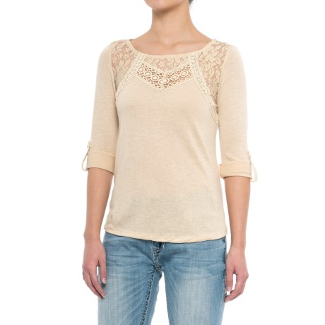 Rock & Roll Cowgirl Lace and Embroidered Shirt - Roll-Up Long Sleeve (For Women) in Beige