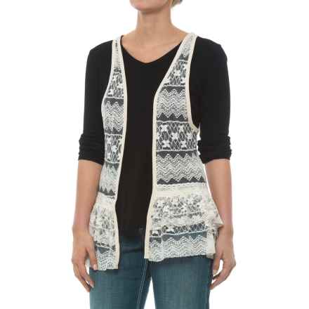 Rock & Roll Cowgirl Lace Open-Front Vest (For Women) in Natural - Closeouts