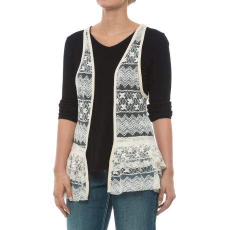 Rock & Roll Cowgirl Lace Open-Front Vest (For Women) in Natural