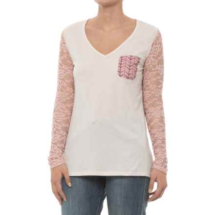 Rock & Roll Cowgirl Lace Printed Chevron Shirt - Long Sleeve (For Women) in Natural - Closeouts
