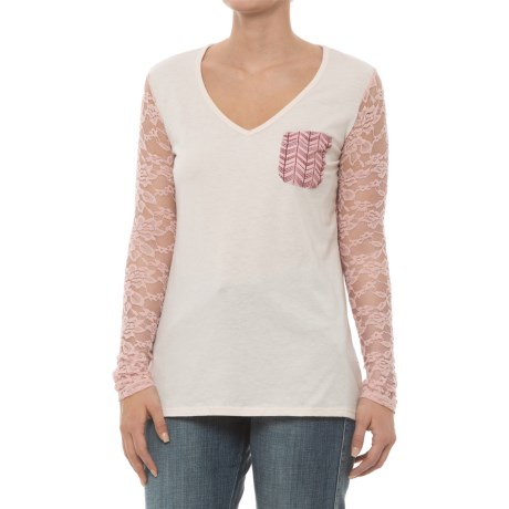 Rock & Roll Cowgirl Lace Printed Chevron Shirt - Long Sleeve (For Women) in Natural