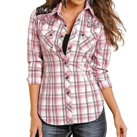 Rock & Roll Cowgirl Lace Shoulder Western Shirt - Snap Front, Long Sleeve (For Women) in Pink - Overstock