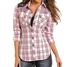 Rock & Roll Cowgirl Lace Shoulder Western Shirt - Snap Front, Long Sleeve(For Women) in Pink - Overstock
