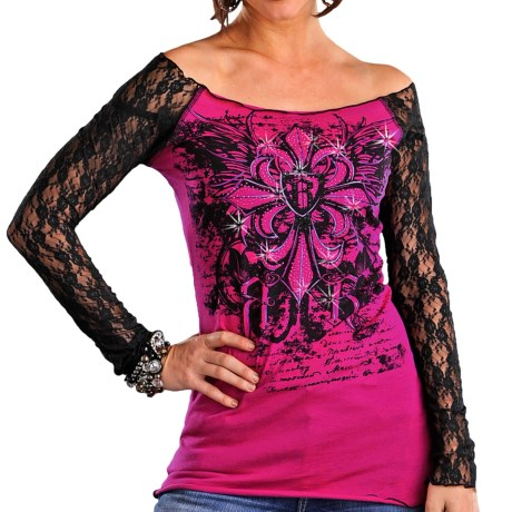 Rock & Roll Cowgirl Lace Sleeve Shirt - Long Sleeve (For Women) in Hot Pink